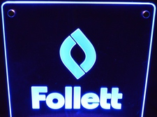 Follett Award Trophy SAMPLE ONLY Advertising Business Logo Acrylic Lighted Edge Lit LED Sign / Light Up Plaque USA Original