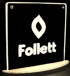 Follett Award Trophy SAMPLE ONLY Advertising Business Logo Double Sided Acrylic Lighted Edge Lit LED Sign / Light Up Plaque USA Original