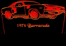 1974 Plymouth Barracuda Acrylic Lighted Edge Lit LED Car Sign / Light Up Plaque