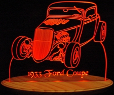1933 Ford Coupe Acrylic Lighted Edge Lit LED Car Sign / Light Up Plaque