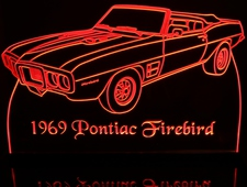 1969 Pontiac Firebird Convertible Acrylic Lighted Edge Lit LED Car Sign / Light Up Plaque