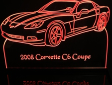 2008 Corvette C6 Coupe Acrylic Lighted Edge Lit LED Sign / Light Up Plaque Full Size Made in USA
