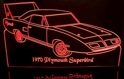 1970 Superbird Acrylic Lighted Edge Lit LED Sign / Light Up Plaque Full Size Made in USA