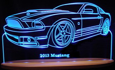 2013 Mustang Acrylic Lighted Edge Lit LED Sign / Light Up Plaque Full Size Made in USA