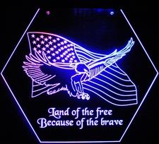 Eagle and Flag Land of the Free Home of the Brave in a Hexagon for wall mount or hanging Acrylic Lighted Edge Lit LED Sign / Light Up Plaque Full Size Made in USA