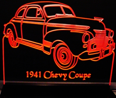 1941 Chevy Coupe Acrylic Lighted Edge Lit LED Sign / Light Up Plaque Full Size Made in USA