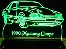 1990 Ford Mustang Coupe Acrylic Lighted Edge Lit LED Car Sign / Light Up Plaque
