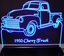 1950 Chevy with visors Pickup Truck Acrylic Lighted Edge Lit LED Sign / Light Up Plaque Full Size Made in USA