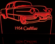 1954 Cadillac Acrylic Lighted Edge Lit LED Sign / Light Up Plaque Full Size Made in USA