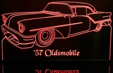 1957 Oldsmobile Olds Acrylic Lighted Edge Lit LED Sign / Light Up Plaque Full Size USA Original