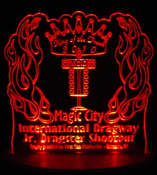 Dragster Trophy Acrylic Lighted Edge Lit LED Sign / Light Up Plaque Full Size Made in USA
