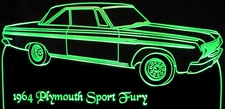 1964 Plymouth Sport Fury Acrylic Lighted Edge Lit LED Sign / Light Up Plaque Full Size USA Original