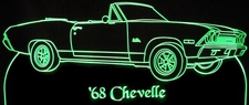 1968 Chevelle Convertible Acrylic Lighted Edge Lit LED Sign / Light Up Plaque Full Size Made in USA