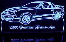 2000 Pontiac Trans Am Acrylic Lighted Edge Lit LED Car Sign / Light Up Plaque