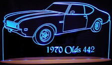 1970 Oldsmobile Olds 442 Acrylic Lighted Edge Lit LED Sign / Light Up Plaque Full Size USA Original
