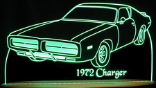 1972 Dodge Charger Acrylic Lighted Edge Lit LED Sign / Light Up Plaque Full Size USA Original