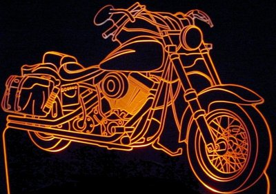 1985 FX Wide Glide Acrylic Lighted Edge Lit LED Bike Sign / Light Up Plaque