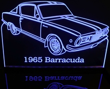 1965 Plymouth Barracuda Cuda Acrylic Lighted Edge Lit LED Sign / Light Up Plaque Full Size Made in USA