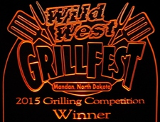 Award Trophy Grill Fest 2015 Acrylic Lighted Edge Lit LED Sign / Light Up Plaque Full Size Made in USA