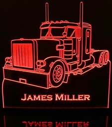 Semi Truck Pblt with Sleeper Acrylic Lighted Edge Lit LED Sign / Light Up Plaque Full Size Made in USA