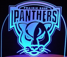 Company Business Logo Trophy Award Panthers Acrylic Lighted Edge Lit LED Sign / Light Up Plaque Full Size Made in USA