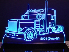 Semi Truck Double Z Acrylic Lighted Edge Lit LED Sign / Light Up Plaque Full Size Made in USA
