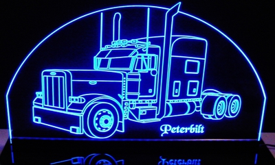 Semi Truck Peterbilt Acrylic Lighted Edge Lit LED Sign / Light Up Plaque Full Size Made in USA