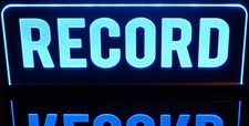 RECORD Recording Music Studio Desk Style Acrylic Lighted Edge Lit LED Sign / Light Up Plaque Full Size Made in USA