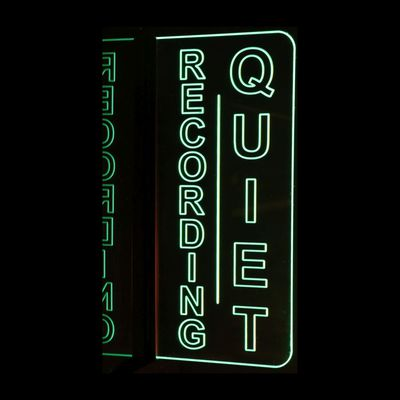 Recording Quiet Music Studio Court house Room Left Side Wall Mount No Texturing Acrylic Lighted Edge Lit LED Sign / Light Up Plaque Full Size Made in USA