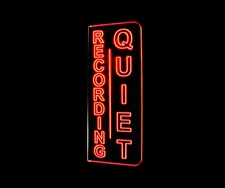 Recording Quiet Music Studio Courthouse Left Side Wall Mount Acrylic Lighted Edge Lit LED Sign / Light Up Plaque Full Size Made in USA