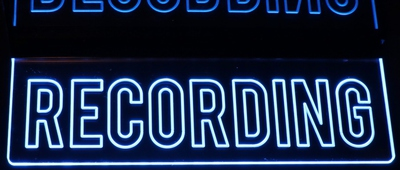 Recording Music Studio Courthouse Ceiling Mount Full Size Letters Acrylic Lighted Edge Lit LED Sign / Light Up Plaque Full Size Made in USA