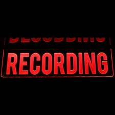 "Recording Double Sided Horizontal (add your own text) Home Studio On The Air 16"" wide Acrylic Lighted Edge Lit LED Sign / Light Up Plaque Full Size Made in USA"