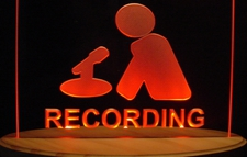 Recording Music Studio Courthouse Man & Mike Acrylic Lighted Edge Lit LED Sign / Light Up Plaque Full Size Made in USA