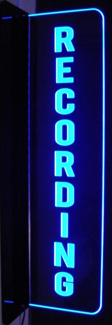 Recording Music Studio Court house Court Room Left Side Wall Mount Acrylic Lighted Edge Lit LED Sign / Light Up Plaque Full Size Made in USA