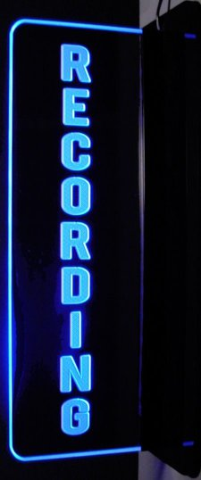Recording Music Studio Courthouse Right Side Wall Mount Mirror Base Acrylic Lighted Edge Lit LED Sign / Light Up Plaque Full Size Made in USA