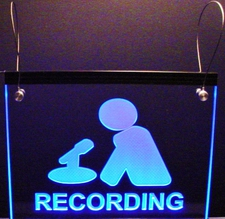 Recording Courtroom Studio Man with Mike Hangs from Ceiling with wires Acrylic Lighted Edge Lit LED Sign / Light Up Plaque Full Size Made in USA