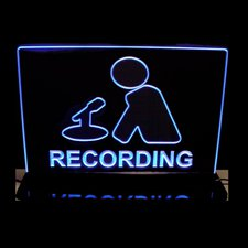 Recording Court Room House Music Studio Man with Mic Desk Style Mirror Base without Texturing Acrylic Lighted Edge Lit LED Sign / Light Up Plaque Full Size Made in USA