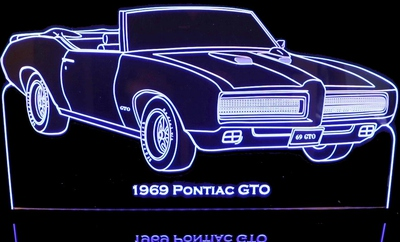1969 Pontiac Gto Convertible Acrylic Lighted Edge Lit LED Car Sign / Light Up Plaque