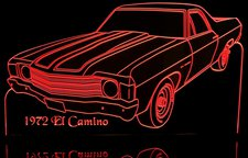 1972 Chevy El Camino Acrylic Lighted Edge Lit LED Pickup Car Sign / Light Up Plaque Chevrolet