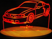 2004 Cobra Acrylic Lighted Edge Lit LED Sign / Light Up Plaque Full Size Made in USA