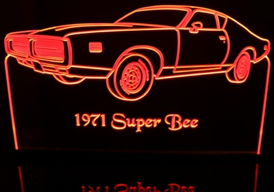 1971 Dodge Super Bee Acrylic Lighted Edge Lit LED Car Sign / Light Up Plaque