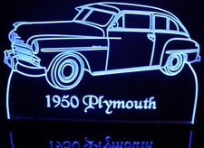 1950 Plymouth Acrylic Lighted Edge Lit LED Car Sign / Light Up Plaque