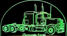 Semi Truck Acrylic Lighted Edge Lit LED Sign / Light Up Plaque