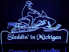 Snowmobile Acrylic Lighted Edge Lit LED Sign / Light Up Plaque Full Size Made in USA