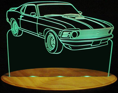 1970 Ford Mustang Acrylic Lighted Edge Lit LED Car Sign / Light Up Plaque
