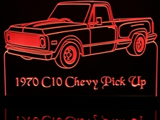1970 Chevy Pickup Acrylic Lighted Edge Lit LED Sign / Light Up Plaque Chevrolet C10 Full Size Made in USA