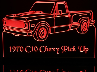 1970 Chevy Pickup C10 Acrylic Lighted Edge Lit LED Truck Sign / Light Up Plaque Chevrolet