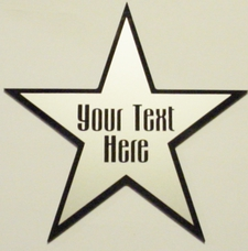 "Star Dressing Room Theater Sign 6"" Silver Vinyl on Black Mirror Acrylic Plaque *3 Stars for 25.00* Full Size Made in USA"