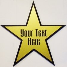 "Star Dressing Room Theater Sign 6"" Gold Vinyl on Black Mirror Acrylic Plaque *3 stars for 25,00* Full Size Made in USA"