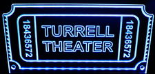 Theater Sign Movie Ticket Acrylic Lighted Edge Lit LED Sign / Light Up Plaque Full Size Made in USA